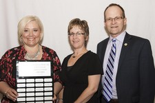Superintendent Dr. Troy Davies (right) honours STAR Catholic School Division 2017 Excellence in Catholic Education Award winner Brenda Mullin (St. Benedict School) and nominee Gail Prentice (St. Anthony School).